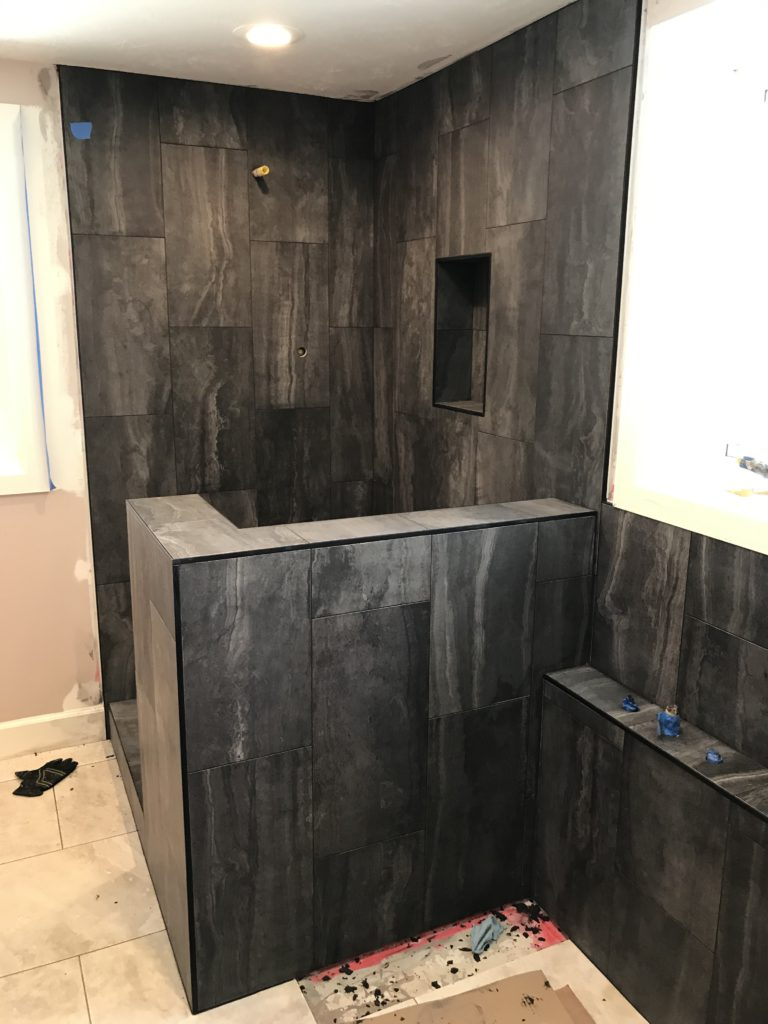 Black Tile Surround Shower Half Wall Separate Tub W Claw